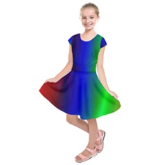 Graphics Gradient Colors Texture Kids  Short Sleeve Dress