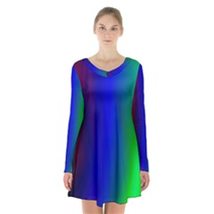 Graphics Gradient Colors Texture Long Sleeve Velvet V Neck Dress