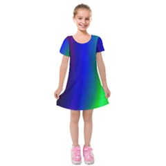 Graphics Gradient Colors Texture Kids  Short Sleeve Velvet Dress