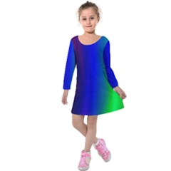 Graphics Gradient Colors Texture Kids  Long Sleeve Velvet Dress