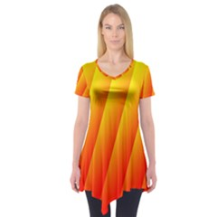 Graphics Gradient Orange Red Short Sleeve Tunic