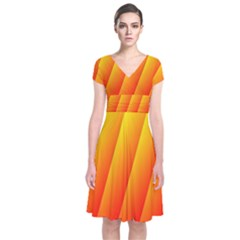 Graphics Gradient Orange Red Short Sleeve Front Wrap Dress