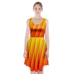 Graphics Gradient Orange Red Racerback Midi Dress