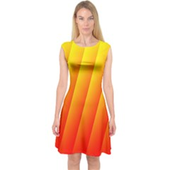 Graphics Gradient Orange Red Capsleeve Midi Dress