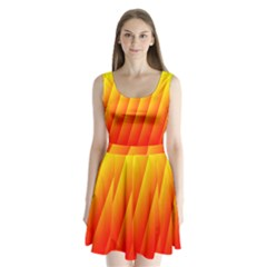 Graphics Gradient Orange Red Split Back Mini Dress