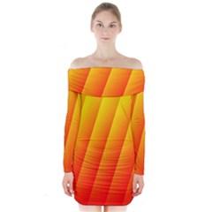 Graphics Gradient Orange Red Long Sleeve Off Shoulder Dress