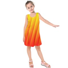 Graphics Gradient Orange Red Kids  Sleeveless Dress