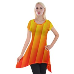 Graphics Gradient Orange Red Short Sleeve Side Drop Tunic