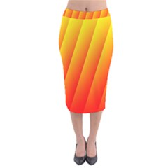 Graphics Gradient Orange Red Velvet Midi Pencil Skirt