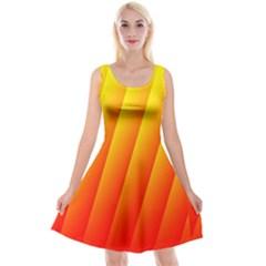 Graphics Gradient Orange Red Reversible Velvet Sleeveless Dress