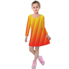 Graphics Gradient Orange Red Kids  Long Sleeve Velvet Dress