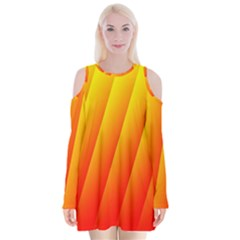 Graphics Gradient Orange Red Velvet Long Sleeve Shoulder Cutout Dress