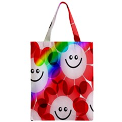 Happy Flowers Zipper Classic Tote Bag