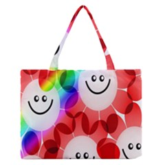 Happy Flowers Medium Zipper Tote Bag