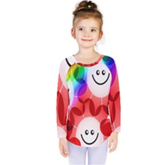 Happy Flowers Kids  Long Sleeve Tee