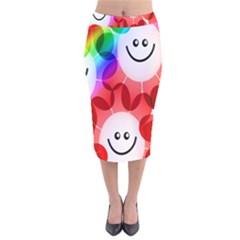 Happy Flowers Velvet Midi Pencil Skirt