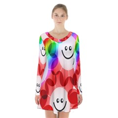 Happy Flowers Long Sleeve Velvet V Neck Dress