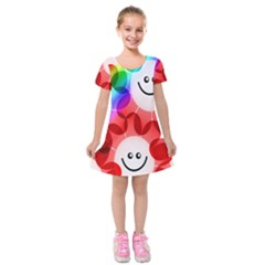 Happy Flowers Kids  Short Sleeve Velvet Dress