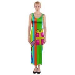 Holiday Gifts Fitted Maxi Dress