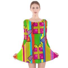 Holiday Gifts Long Sleeve Velvet Skater Dress