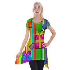 Holiday Gifts Short Sleeve Side Drop Tunic