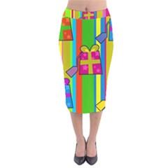 Holiday Gifts Velvet Midi Pencil Skirt