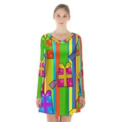 Holiday Gifts Long Sleeve Velvet V Neck Dress