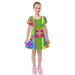Holiday Gifts Kids  Short Sleeve Velvet Dress