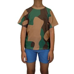 Military Camouflage Kids  Short Sleeve Swimwear