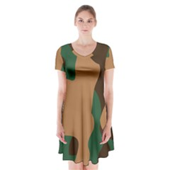 Military Camouflage Short Sleeve V-neck Flare Dress