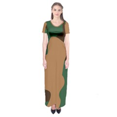 Military Camouflage Short Sleeve Maxi Dress