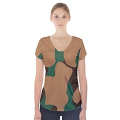 Military Camouflage Short Sleeve Front Detail Top