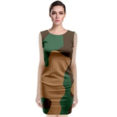 Military Camouflage Sleeveless Velvet Midi Dress