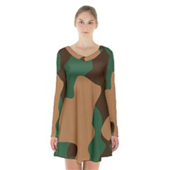 Military Camouflage Long Sleeve Velvet V Neck Dress