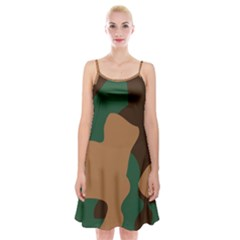 Military Camouflage Spaghetti Strap Velvet Dress