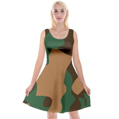 Military Camouflage Reversible Velvet Sleeveless Dress