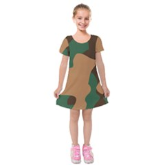 Military Camouflage Kids  Short Sleeve Velvet Dress