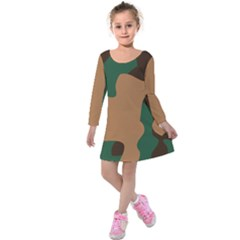 Military Camouflage Kids  Long Sleeve Velvet Dress