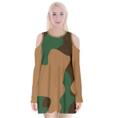 Military Camouflage Velvet Long Sleeve Shoulder Cutout Dress