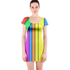 More Color Abstract Pattern Short Sleeve Bodycon Dress
