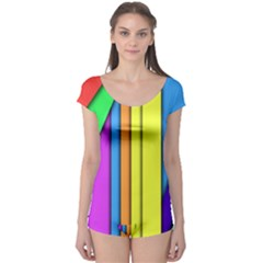More Color Abstract Pattern Boyleg Leotard