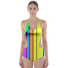 More Color Abstract Pattern Cut-Out One Piece Swimsuit