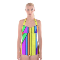 More Color Abstract Pattern Boyleg Halter Swimsuit