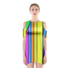 More Color Abstract Pattern Shoulder Cutout One Piece
