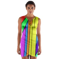 More Color Abstract Pattern Wrap Front Bodycon Dress