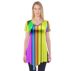 More Color Abstract Pattern Short Sleeve Tunic
