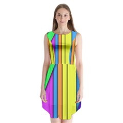 More Color Abstract Pattern Sleeveless Chiffon Dress