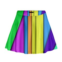 More Color Abstract Pattern Mini Flare Skirt