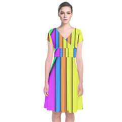 More Color Abstract Pattern Short Sleeve Front Wrap Dress