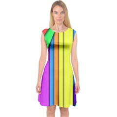More Color Abstract Pattern Capsleeve Midi Dress